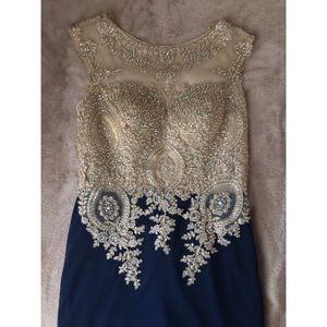 Abby Paris Navy Blue and Gold Prom Dress
